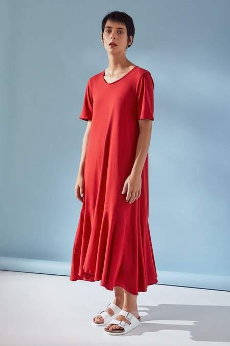 Kowtow Flare Hem Dress - poppy