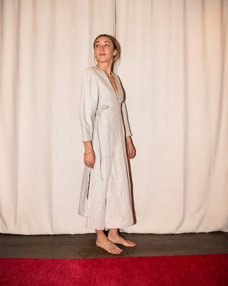 Christopher Esber Bonded Linen Utility Dress - Natural/Moss