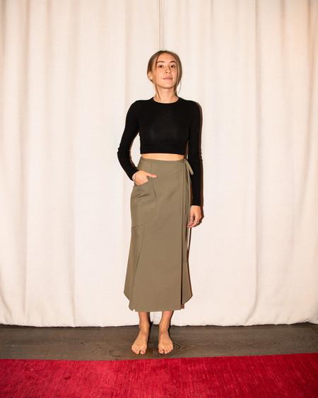 Christopher Esber Apron Wrap Skirt - Moss