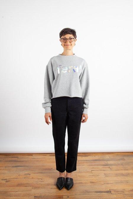 Sara Duke Feral Crop Sweatshirt - Heather Grey