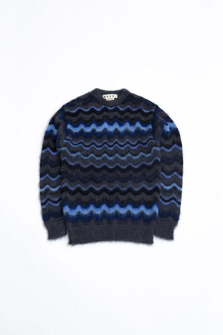 Marni Round Neck Wavy Knit Sweater - navy/black