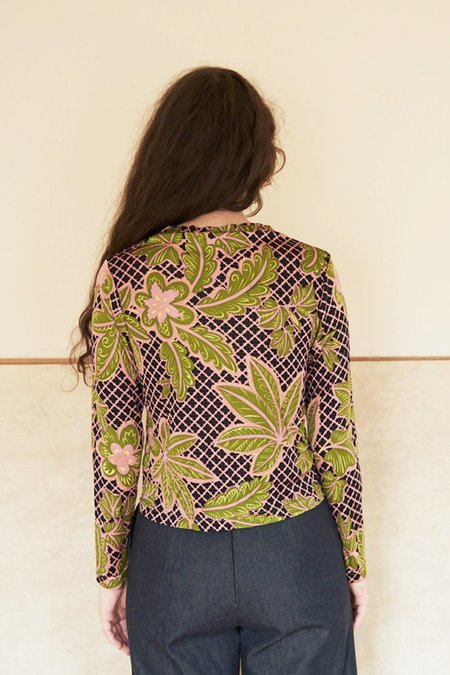 Elise Ballegeer Silk Jersey Print Mock Top - green floral