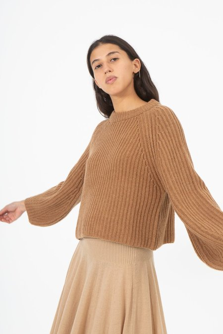 Ryan Roche Cashmere Ribbed Raglan Sleeve Cropped Sweater - Brown Rose