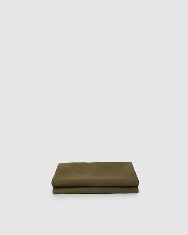 Shop Sunday Morning Marcel Linen Fitted Sheet - Moss