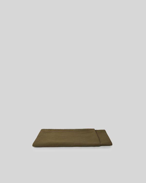 Shop Sunday Morning Marcel Linen Flat Sheet - Moss