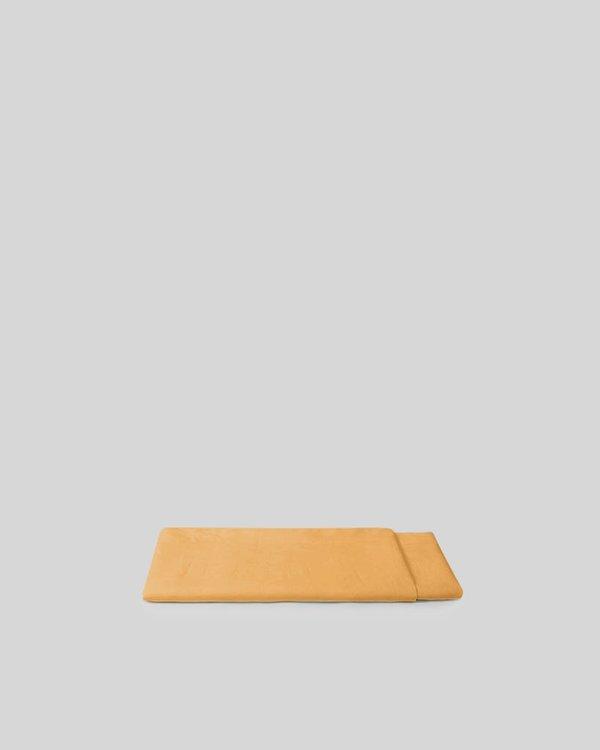 Shop Sunday Morning Marcel Linen Flat Sheet - Mustard
