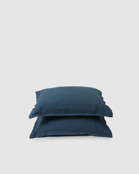 Shop Sunday Morning Marcel Linen Pair Pillowcases - Adriatic