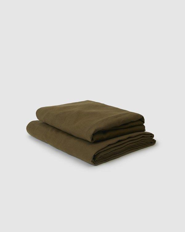 Shop Sunday Morning Marcel Linen Sheet Set - Moss