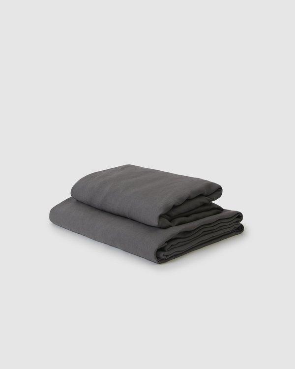Shop Sunday Morning Marcel Linen Sheet Set - Storm