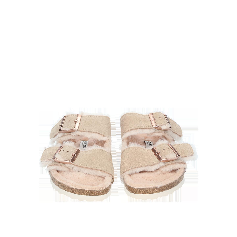 Birkenstock Sandals ARIZONA Fur Nude Shearling Suede regular NEW | eBay