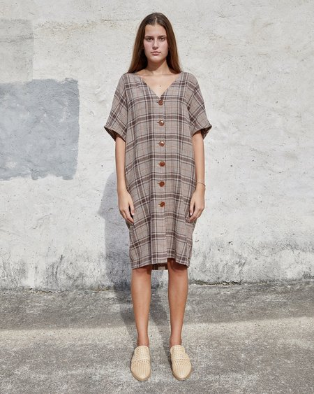 Esby Maci Dress - Brown Vintage Plaid
