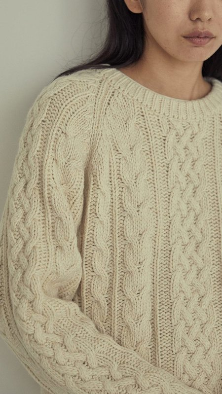 Amomento Cable Knit Pullover - Cream