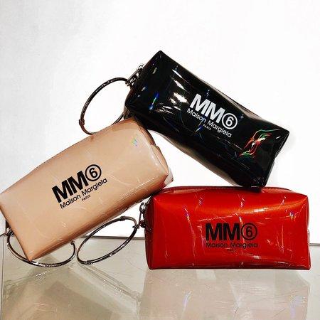 MM6 Maison Margiela Iridescent Logo Keyring Pouch - Red
