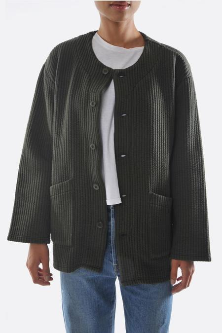 Chimala Stretch Striped Quilted Cardigan - Khaki Green