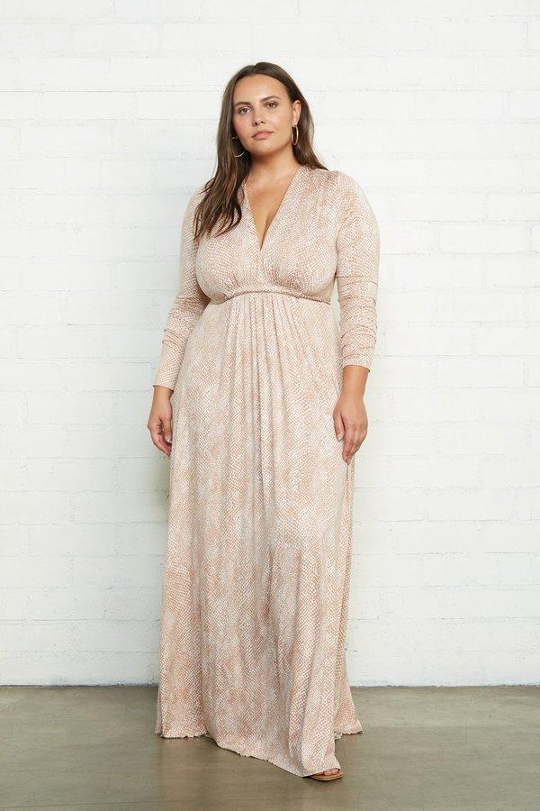 Rachel Pally Long Sleeve Full Length Plus Size Caftan Dress - Snake