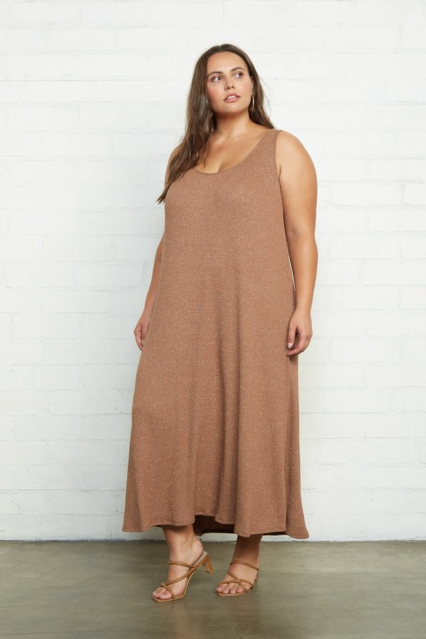 Rachel Pally Fiona Plus Size Metallic Rib Dress - Caramel/Gold on Garmentory