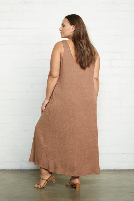 Rachel Pally Fiona Plus Size Metallic Rib Dress - Caramel/Gold