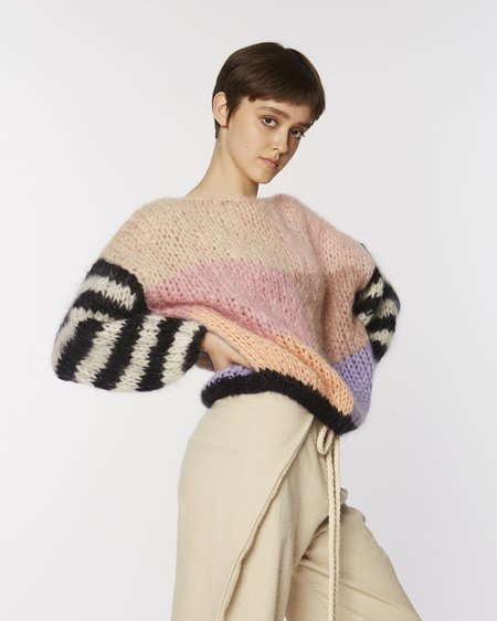 Maiami Mohair Big Sweater With Striped Sleeves