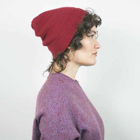 Erdaine Rib Knit Hat - Red