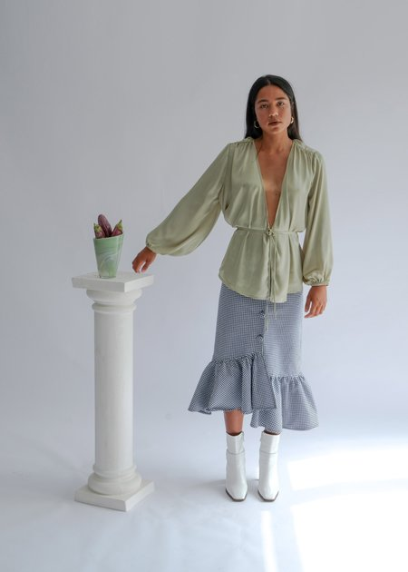 OhSevenDays The Friday Billow Reversible Balloon Sleeve Blouse