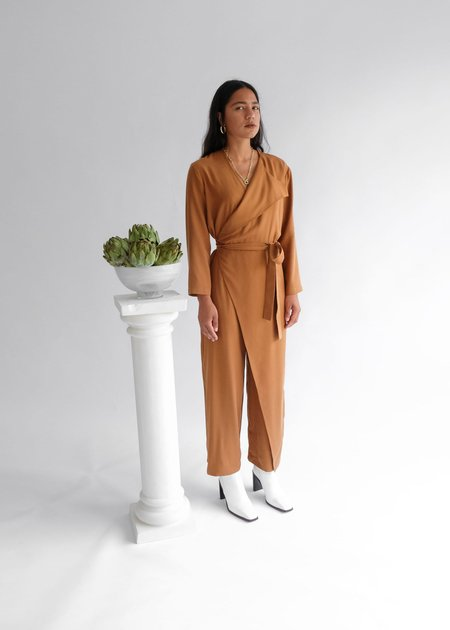 OhSevenDays The Wednesday Onesie Wrap Long Sleeve Belted Jumpsuit