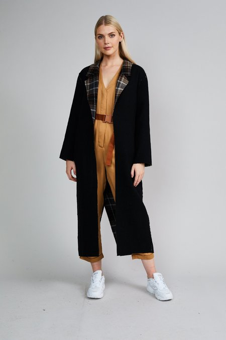 Native Youth The Aria Reversible Coat - Dark Check