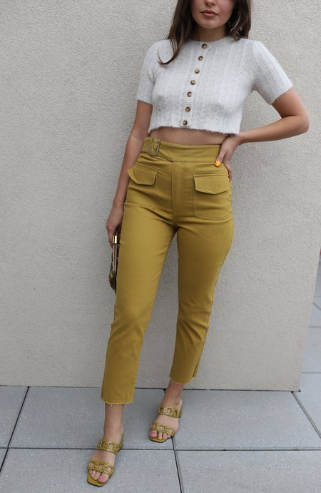 J.O.A. High Waist Belted Pants - Mustard