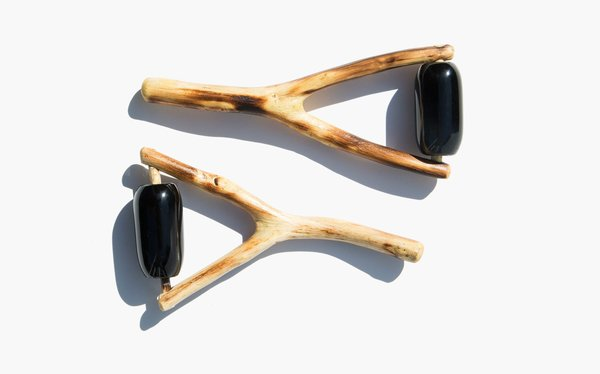 Kindred Black Huizache Wood and Obsidian Face Massage Tool