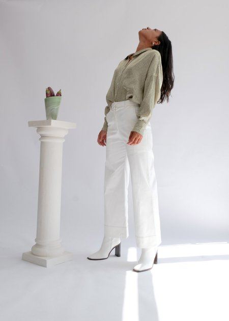 OhSevenDays The Tuesday High Kick Flare High Waisted Trousers - White