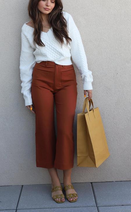 J.O.A. Hi Rise Wide Leg Pants - Rust