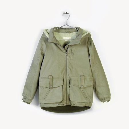 KIDS andorine hooded denim jacket - khaki green