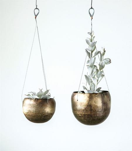 Creative Co-Op Antique Brass Hanging Planters