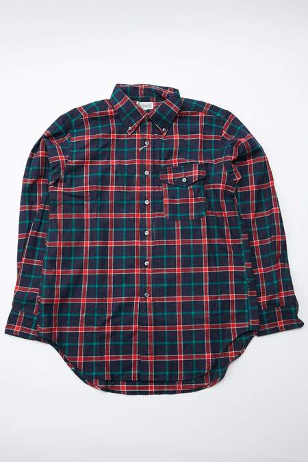Engineered Garments Workaday Plaid Flannel BD Shirt - Dk.Navy/Red/Green