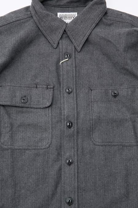 Engineered Garments Workaday Cotton Herringbone Flannel Utility Shirt - Grey