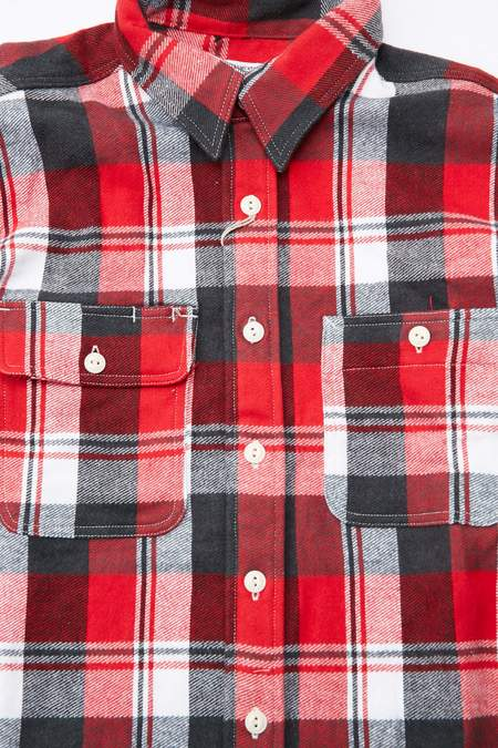 Engineered Garments Workaday Plaid Flannel Utility Shirt - Red/Navy/White