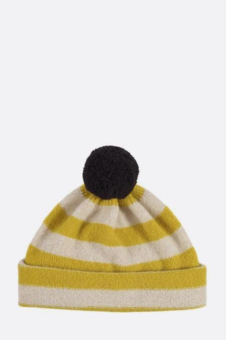 Jo Gordon Striped Pompom Hat - Turmeric/Oatmeal