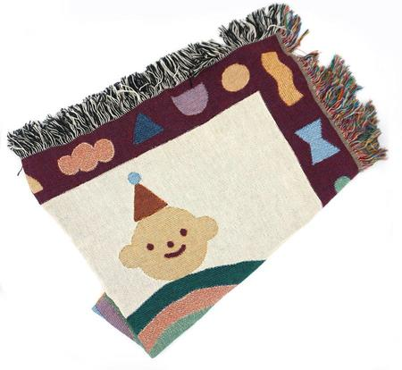 Jennifer Xiao Brooklyn Ilustrator Rainbow Friend Woven Blanket