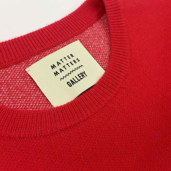 Unisex MATTER MATTERS Grids Crew Neck Pullover - Red/White
