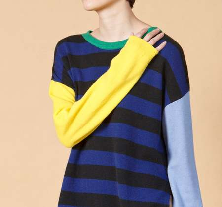 Unisex MATTER MATTERS Crew Neck Striped Wool/Cashmere Blend Pullover - Blue