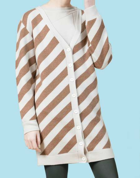 Matter Matters V Neck Wool Long Cardigan - Beige/Brown