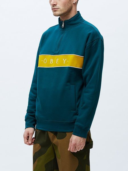 Obey Deal Mock Neck Sweatshirt - Teal