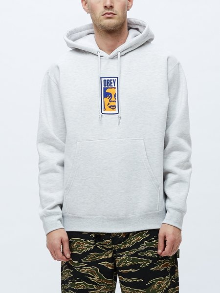 Obey Slim Icon Hood Sweatshirt - Grey