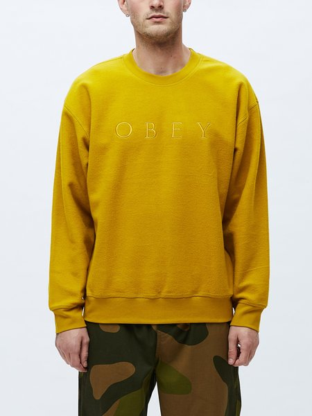 Obey Trophy Reversed Fleece Crew Sweatshirt - Gold