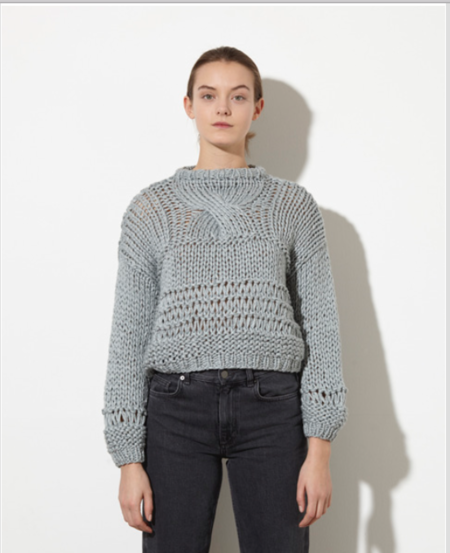 Maiami Short Patterned Sweater - Silver