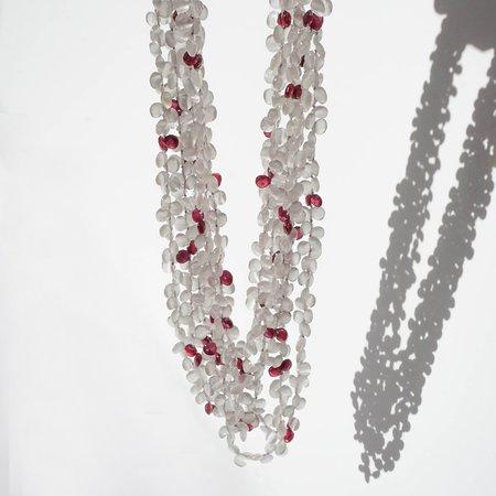 Eva Nueva Multi Strand Necklace With Quartz and Rubies - Grey