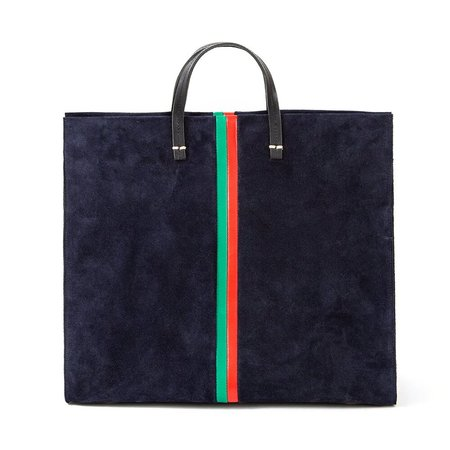 Clare V. Simple Tote - Navy with Stripes