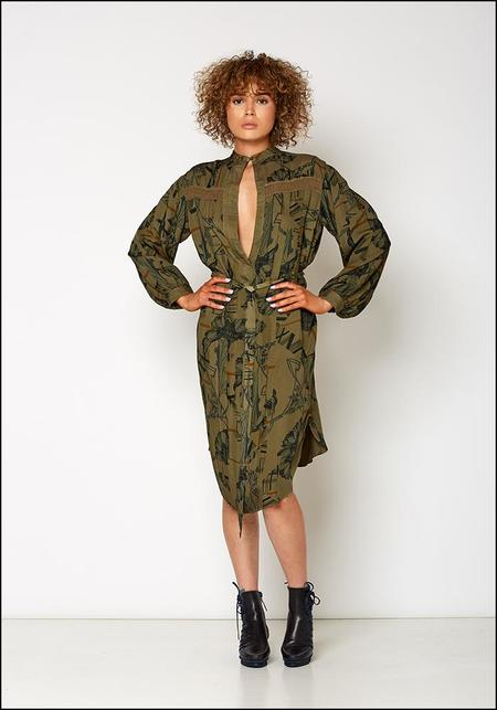 Burning Torch Tie Waist Printed Dress - Army