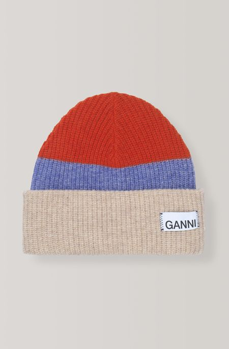 Ganni Knit Beanie - Fiery Red