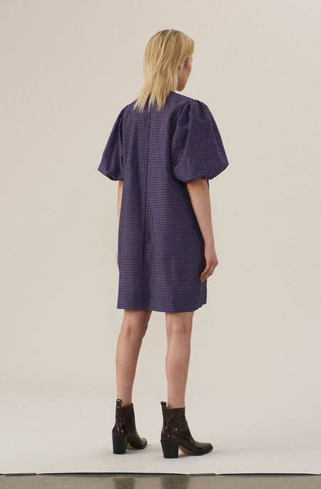 Ganni Seersucker Check Dress - Deep Lavender