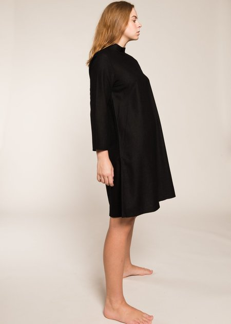 Ali Golden Mock Neck Dress - Black